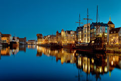 Gdansk of Riverside at night. The riverside with the characteristic crane of Gdansk, Poland Stock Images