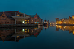 Gdansk of Riverside at night Stock Photo