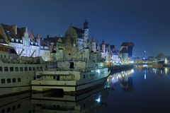 Gdansk of Riverside at night Stock Images