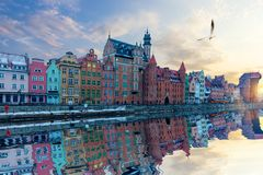 Gdansk riverside view, beautiful Old Town facades and Zuraw Port Crane royalty free stock image