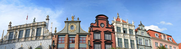 Gdansk's old architecture in panoramic view Royalty Free Stock Photo