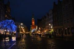 Gdansk semestrar den historiska cent under julen, Polen Arkivfoton