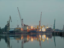 Gdansk shipyard at dawn. Taken at a Gdansk shipyard at dawn, Poland Royalty Free Stock Photos