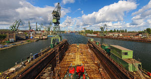 Gdansk Shipyard in a panorama. View from the dock to the panorama of the Gdansk shipyard, Poland Stock Image