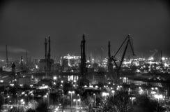 Gdansk Shipyard, Poland. Panorama of Gdansk Shipyard photo black & white by night Royalty Free Stock Images