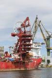 Gdansk Shipyard by Vistula river, the birthplace of polish Solidarity, Gdansk, Poland. GDANSK, POLAND - JUNE 5, 2018 : Gdansk Shipyard by Vistula river, the stock photography