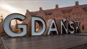 Gdansk sign at sunrise, Gdansk, Poland. stock photo