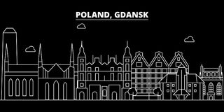 Gdansk silhouette skyline. Poland - Gdansk vector city, polish linear architecture, buildings. Gdansk travel royalty free illustration