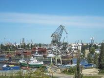 Gdansk skeppsvarv, panorama royaltyfri fotografi
