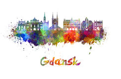 Gdansk skyline in watercolor Stock Images