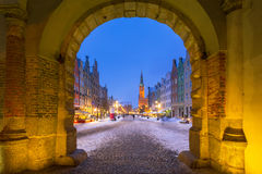 Gdansk in snowy winter, Poland. Long lane in the old town of Gdansk in snowy winter, Poland stock photo