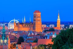 Gdansk. St. Mary's Church at night. Stock Photography