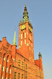 Gdansk Town Hall in the evening Stock Photos