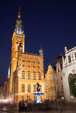 Gdansk Town Hall and Neptune Fountain by Night Royalty Free Stock Image