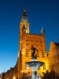 Gdansk Town Hall by night Stock Photography