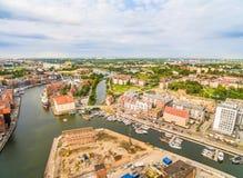 Gdansk van de lucht Het landschap van de stad van Gdansk met Motlawa en owianka OÅ ' Stock Afbeelding