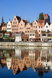 Gdansk Waterfront. Old Town houses waterfront architecture with reflections on Motlawa river waters in the city of Gdansk (Danzig), Poland Stock Photography