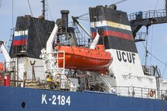 Gdansk-Werft durch Weichsel, Schiff unter Erneuerung, Gdansk, Polen Stockbild