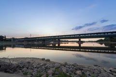 Gdanski bridge during dusk time, Warsaw Royalty Free Stock Photos