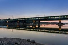Gdanski bridge during dusk time, Warsaw Royalty Free Stock Photography