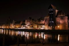 Gdańsk Danzig by night Stock Image