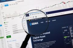 GDAX cryptocurrency交换 库存照片
