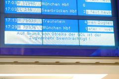 GDL strike. Display board notifying passengers about the consequences of the strike of the german train drivers union GDL Royalty Free Stock Image