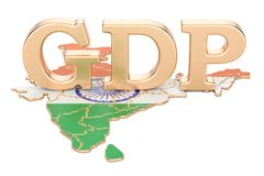 GDP bruto dos produtos internos do conceito da Índia, rendição 3D Fotografia de Stock Royalty Free