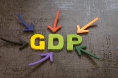GDP, conceito de produtos internos bruto, os indicadores preliminares usados para calibrar a sa?de da economia de um pa?s, seta q imagens de stock royalty free