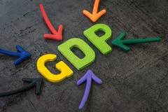 GDP, concepto del producto interno bruto, los indicadores primarios usados para calibrar la salud de la econom?a de un pa?s, flec fotos de archivo libres de regalías
