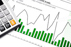 GDP and data report - chart, calculator and ball-pen Royalty Free Stock Photography