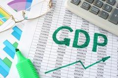 GDP de la palabra escrito en un papel fotos de archivo