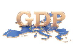 GDP del producto interno bruto del concepto de la unión europea, renderi 3D ilustración del vector