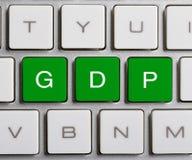 GDP en el teclado Foto de archivo libre de regalías