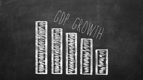 GDP fall Graph on a black chalkboard