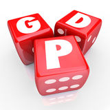 GDP Gross Domestic Product National Manufacturing Goods Output 3. Gross Domesic Product GDP letters on three red dice to illustrate national production Royalty Free Stock Photos