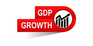 Gdp growth banner. Icon on isolated white background - vector illustration Stock Photo
