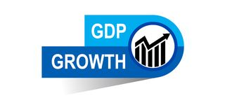 Gdp growth banner. Icon on isolated white background - vector illustration Stock Images