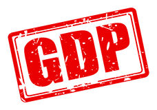 GDP red stamp text. On white Stock Illustration