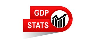 Gdp stats banner. Gdp statst banner icon on isolated white background - vector illustration Royalty Free Stock Photos