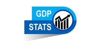 Gdp stats banner. Gdp statst banner icon on isolated white background - vector illustration Royalty Free Stock Photography