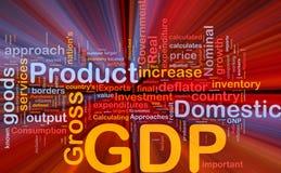 Gdp-Wirtschaftlichkeithintergrund-Konzeptglühen Stockfotos