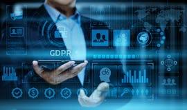 GDPR一般数据保护章程企业互联网技术概念 免版税图库摄影