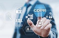 GDPR一般数据保护章程企业互联网技术概念 库存图片