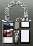 GDPR一般数据保护章程挂锁概念 图库摄影