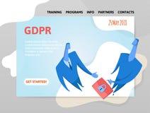 GDPR日期 一般数据保护章程 交换闭合的信息的两个商人 网站设计模板  免版税库存图片