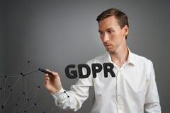 GDPR概念图象 一般数据保护章程,个人数据的保护在欧盟的 年轻人 库存照片