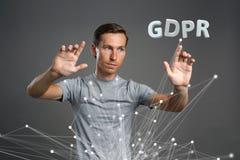 GDPR概念图象 一般数据保护章程,个人数据的保护在欧盟的 年轻人 免版税库存图片