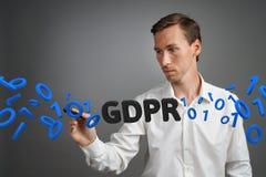 GDPR概念图象 一般数据保护章程,个人数据的保护在欧盟的 年轻人 免版税库存照片
