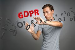 GDPR概念图象 一般数据保护章程,个人数据的保护在欧盟的 年轻人 库存图片